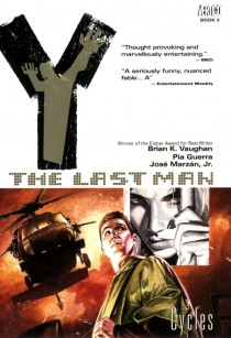 Cover from a trade edition of Y: The Last Man by Brian Vaughan