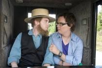 Clark Duke accepts a ride from Amish farmer Seth Green
