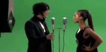 Jack White and Alicia Keys on the set of Another Way to Die