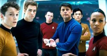 (From left) Anton Yelchin, Chris Pine, Simon Pegg, Karl Urban, John Cho, and Zoe Saldana in the new Star Trek