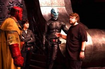 Ron Perlman, Selma Blair, Doug Jones and director Guillermo del Toro on set of Hellboy 2