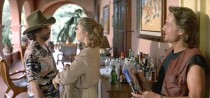 Kathleen Turner and Michael Douglas in the 1984 action comedy of Romancing the Stone