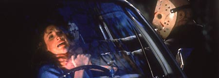 Richard Brooker as Jason Voorhees goes to work on another victim in Friday the 13th Part 3