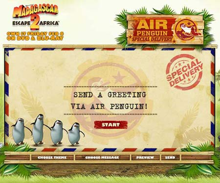 Send E-cards via Air Penguin