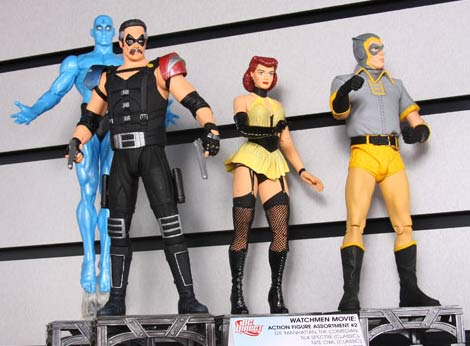 Translucent Dr. Manhattan - The Comedian - Classic Silk Spectre and Classic Nite Owl action figures from DC Direct