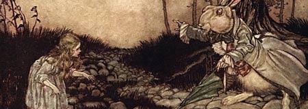 An Arthur Rackham illustration from Alices Adventures in Wonderland