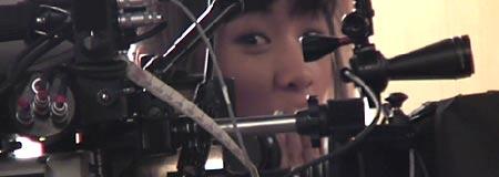 Ellen Wong on the set of Scott Pilgrim Vs. the World