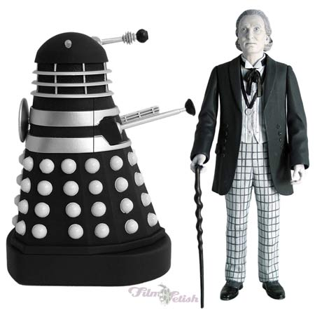 First Doctor with Dalek Invasion Of Earth Black Dalek 2 Pack (black and white edition)