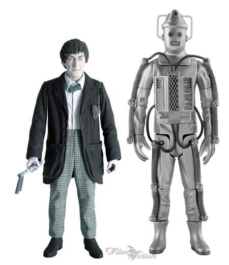 Second Doctor with Telos Cyber Tombs Cyberman 2 Pack (black and white edition)