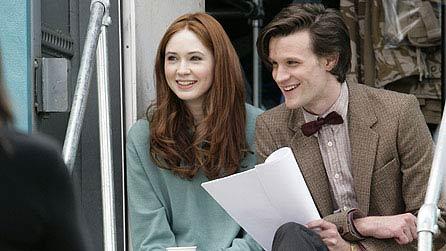 Karen Gillan and Matt Smith on the set of Doctor Who
