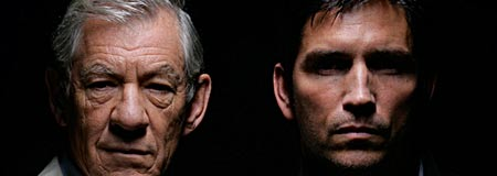 Sir Ian McKellen and Jim Caviezel in The Prisoner