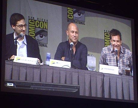 Moderator Josh Horowitz - MIke Judge and Jason Bateman at the San Diego Comic-Con 2009 Extract panel. Photo by Rene Carson