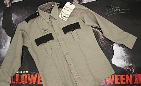 Rob Zombie signed Sheriff Brackett shirt from Halloween II