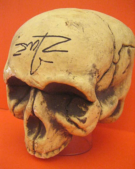 Rob Zombie-signed skull from set of Halloween II