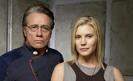 Edward James Olmos and Katee Sackhoff in Battlestar Galactica