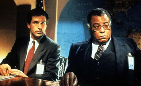 Alec Baldwin as Jack Ryan and James Earl Jones as Admiral Greer in the John McTiernan film The Hunt for Red October