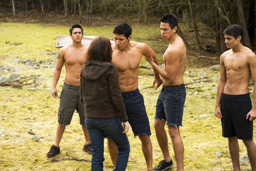 The Wolf Pack and Bella Swan in The Twilight Saga: New Moon