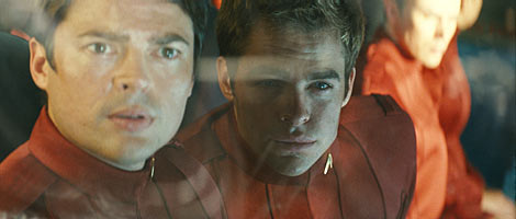 Bones (Karl Urban) and James T. Kirk (Chris Pine) in Star Trek