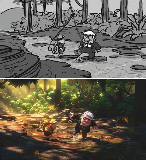 The Disney Pixar film Up progression of a scene