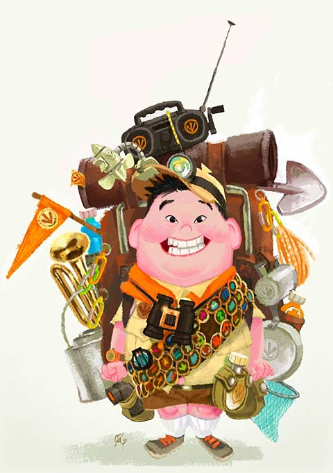 Character design for Russell voiced by Jordan Nagai from the Disney-Pixar film Up