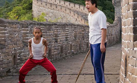 Jackie Chan teaches Jaden Smith basic stances in Karate Kid