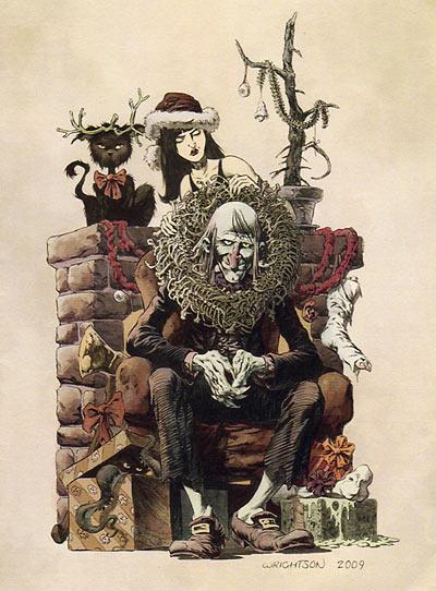 Bernie Wrightson Christmas 2009 card art