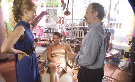 Rosamund Pike and Jonathan Mostow on the set of Surrogates