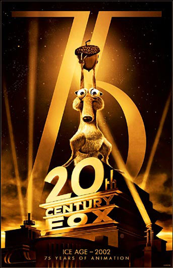 20th Century Fox 75th Anniversary Ice Age Movie Poster