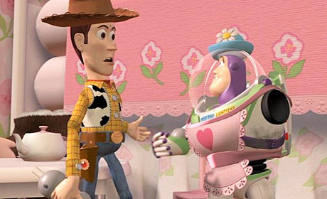 Woody (Tom Hanks) and Buzz Lightyear (Tim Allen) in Toy Story