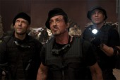 Lee Christmas (Jason Statham, left), Barney Ross (Sylvester Stallone, center) and Toll Road (Randy Couture, right) in THE EXPENDABLES. Photo credit: Karen Ballard