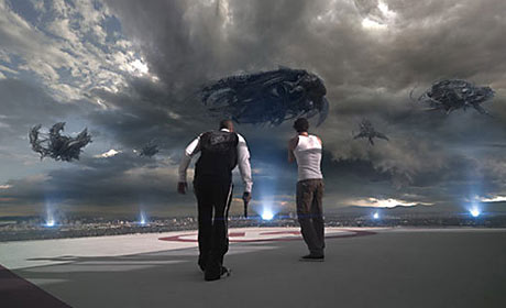 Donald Faison and Eric Balfour in Skyline