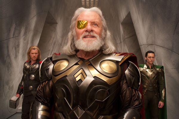 Chris Hemsworth, Anthony Hopkins and Tom Hiddleston in Thor