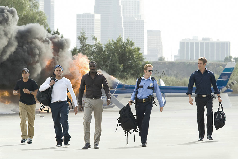 (L to R) Michael Ealy, Chris Brown, Idris Elba, Hayden Christensen and Gideon Emery in Takers