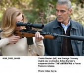 Thekla Reuten (left) and George Clooney (right) in The American