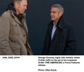 George Clooney (right) with director Anton Corbijn (left) on the set of The American