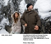 Irina Bjorklund and George Clooney in The American. Photo by: Giles Keyte