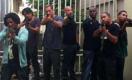 Vin Diesel, Paul Walker, Sung Kang, Ludacris, and Tyrese Gibson in Fast Five