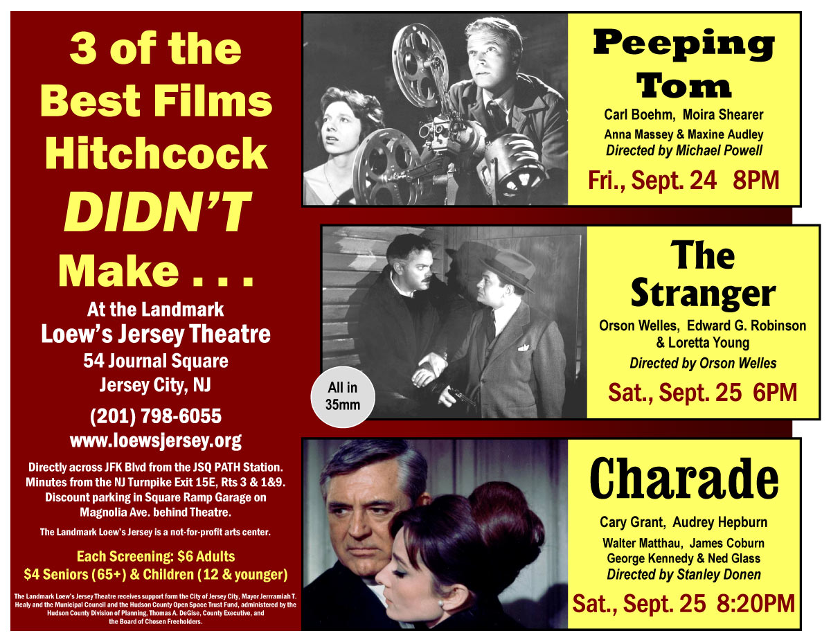 Loew's Jersey flyer for The Stranger, Peeping Tom and Charade screenings