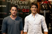 The Vampire Diaries stars Michael Trevino (left) and Steven R. McQueen at the signing.