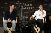 The Vampire Diaries stars Michael Trevino (left) and Steven R. McQueen on stage during the event.