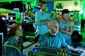 Sigourney Weaver, Joel Moore, James Cameron and Sam Worthington on the set of Avatar