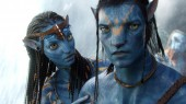 Zoe Saldana as Neytiri and Sam Worthington as Jake Sully in Avatar