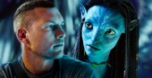 Sam Worthington as Jake Sully and Zoe Saldana as Neytiri in Avatar