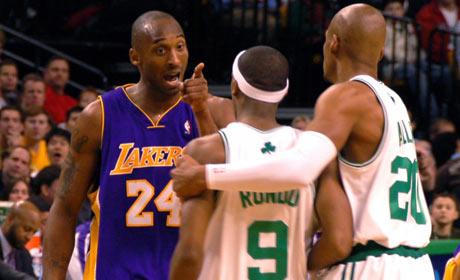 Kobe Bryant, Rajon Rondo and Ray Allen on the court