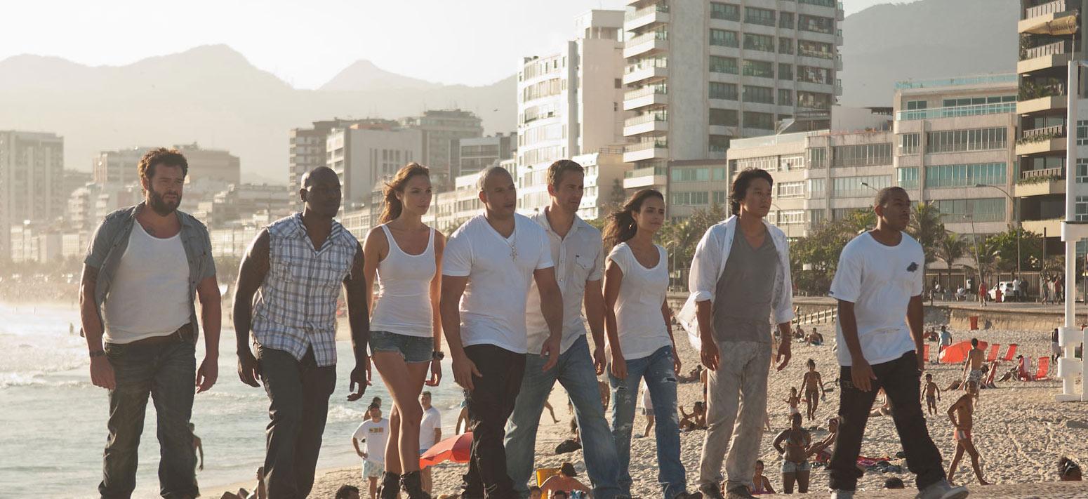 Vin Diesel, Jordana Brewster, Sung Kang, Ludacris, Tyrese Gibson, Paul Walker and Gal Gadot in Fast Five