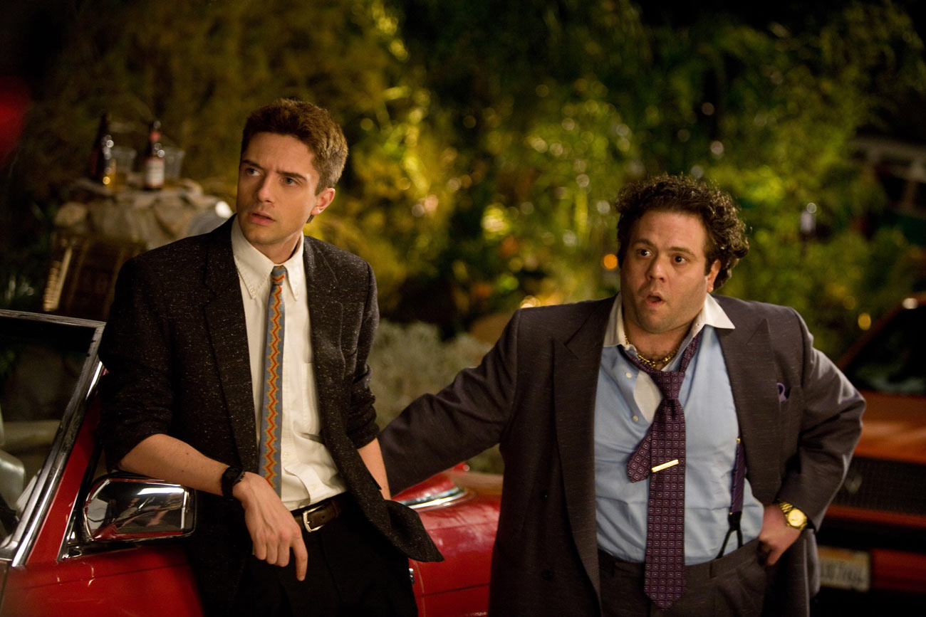 (Left to right.) Topher Grace and Dan Fogler in Take Me Home Tonight. Photo Credit: Ron Batzdorff, SMPSP© 2010 Relativity