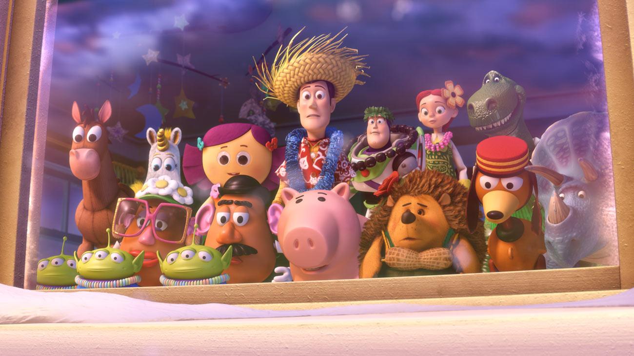 (Back row left to right) Bullseye, Buttercup, Dolly, Woody, Buzz Lightyear, Jesse, Rex (Front row left to right) Aliens, Mrs. Potato Head, Mr. Potato Head, Hamm, Mr. Pricklepants, Slinky Dog, Trixie © Disney/Pixar.