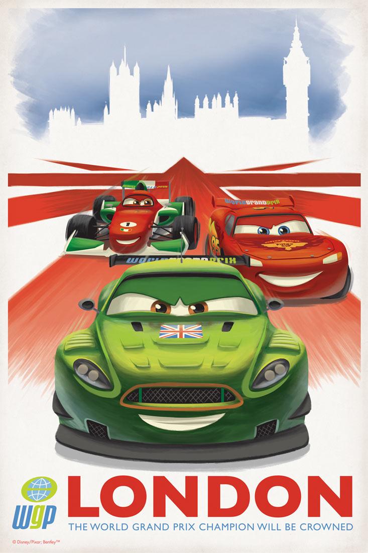 Cars 2 vintage movie poster