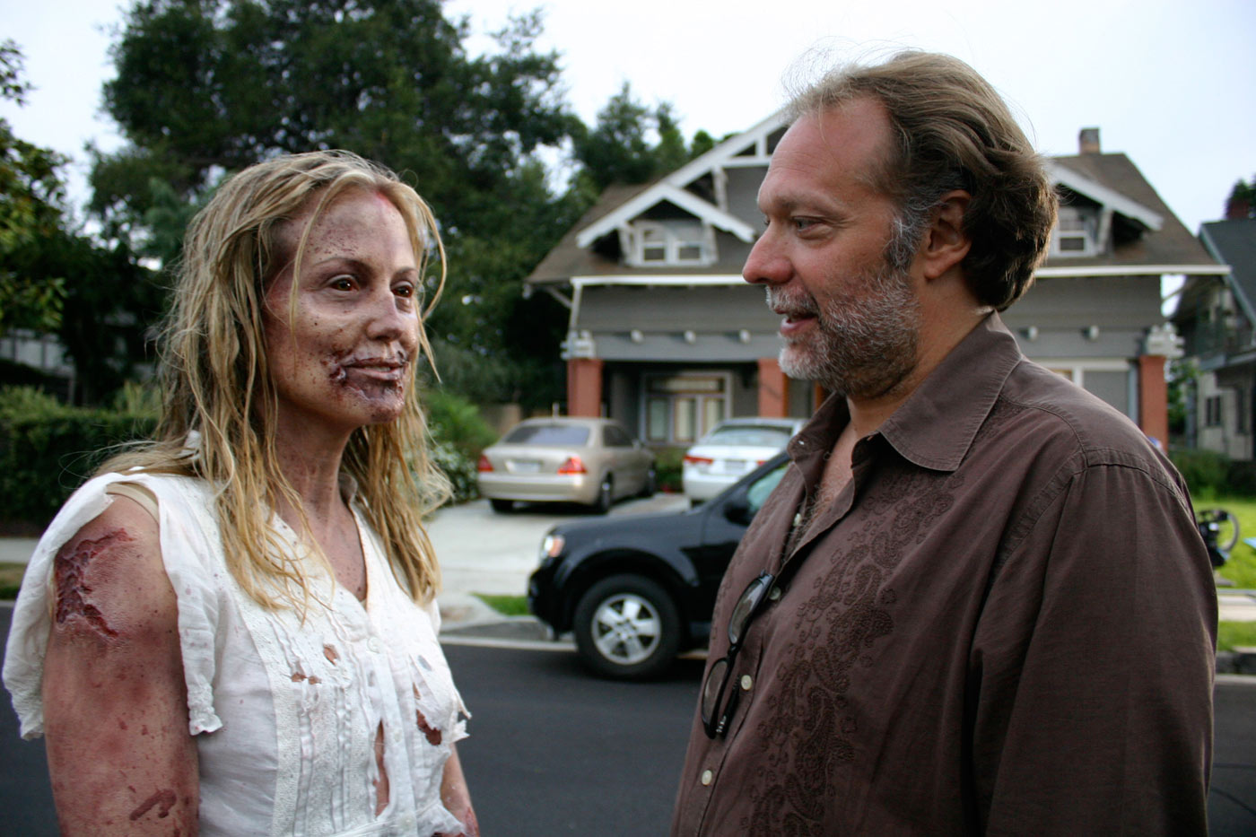 Hannah (Lilli Birdsell) and Greg Nicotero, The Walking Dead Webisodes. Photo Credit: Courtesy of Generate and AMC