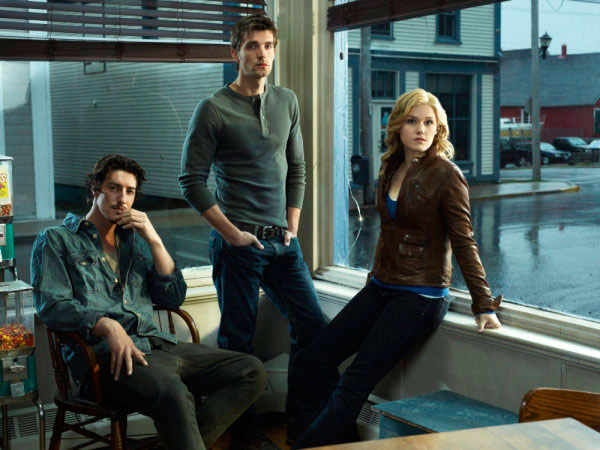 Eric Balfour as Duke Crocker, Lucas Bryant as Nathan Wuomos, and Emily Rose as Audrey Parker in Haven